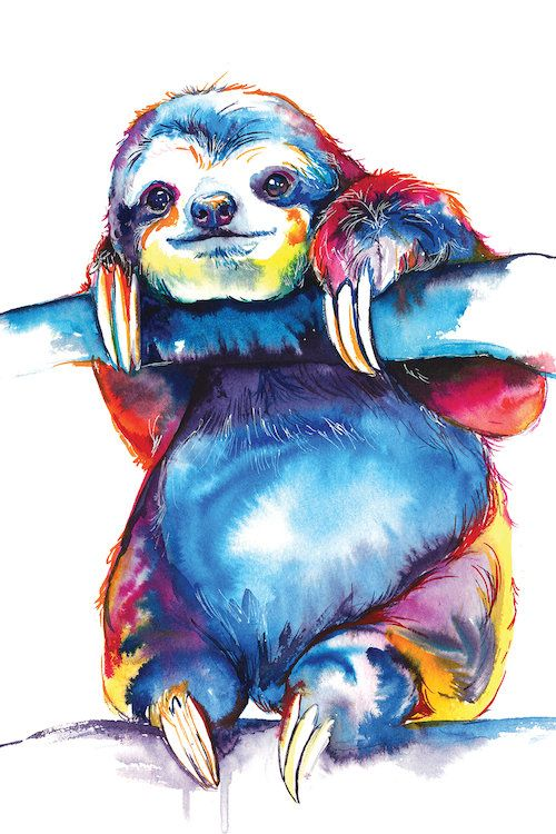 Sloth Canvas Artwork By Weekday Best Icanvas Sloth Art Watercolor Painting Etsy Animal Paintings