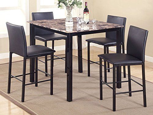 Aiden 5 Pc Counter Height Table Set W Faux Granite Top By Crown Mark Dining Room Sets Counter Height Dining Table Dining Room Table