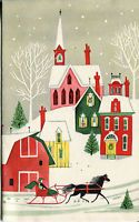 Vintage HALLMARK Christmas Card: Sleighing Scene Front and Back Printed