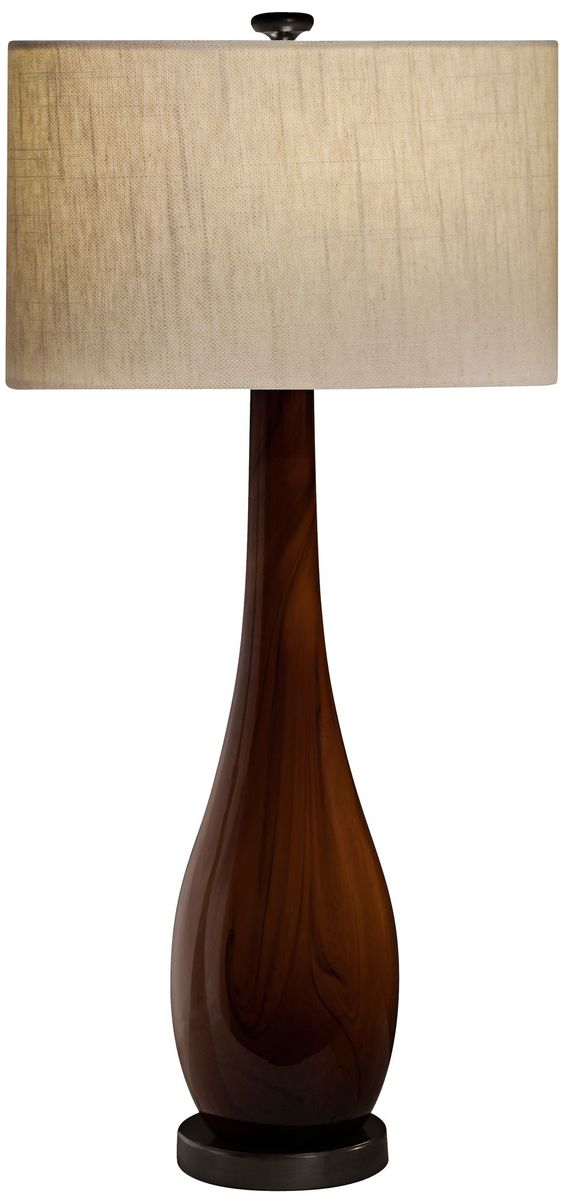 Thumprints Burlwood Unique Amber Table Lamp - EuroStyleLighting.com  32 inches high