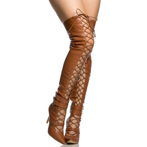 CiCiHot Camel Faux Leather Lace Up Pointed Toe Thigh High Boots ($38) ❤ liked on Polyvore featuring shoes, boots, above the knee boots, pointed-toe boots, thigh high boots, faux-fur boots and camel boots