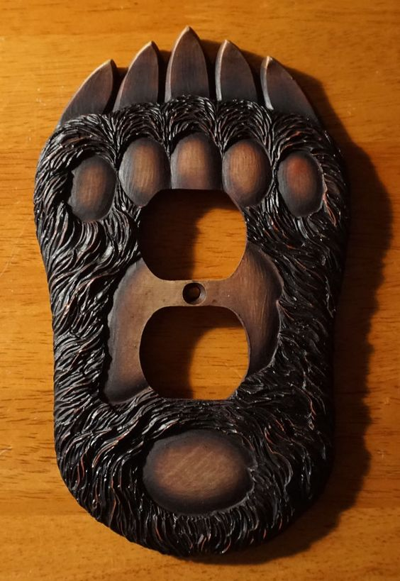 Black bear paw outlet wall plate cover rustic lodge log for Rustic bear home decor