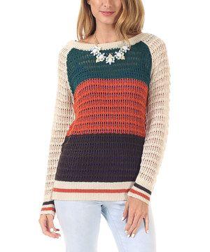 Look what I found on #zulily! Beige & Orange Color Block Boatneck Sweater by Pinkblush #zulilyfinds