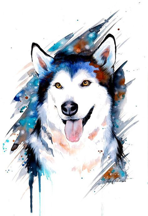 ラフな水彩画のおしゃれでかっこいい犬の壁紙