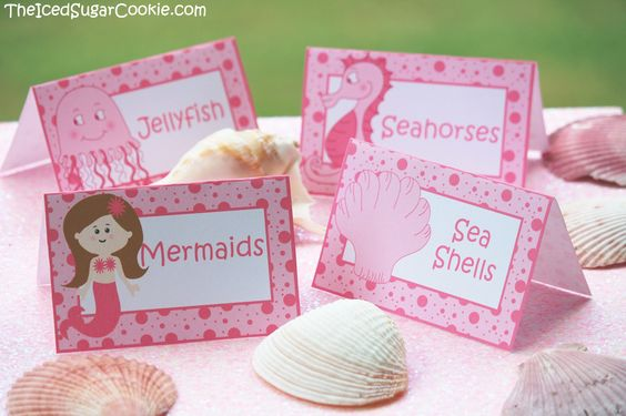 "Pink Mermaid ""Under The Sea"" Birthday Party Food Label Tent Cards-Printable…"