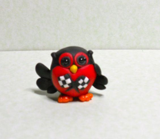 race fan owl Checkers polymer clay keepsake by WOODLANDCRITTERS, $12.00