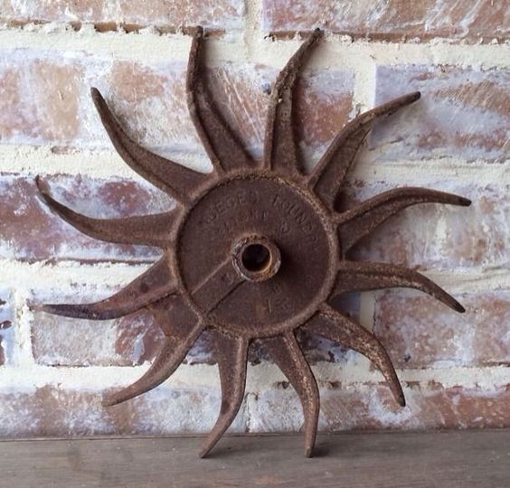 Old Antique Cast Iron Metal Spike Plow Blade Sunflower - Farm Industrial Decor