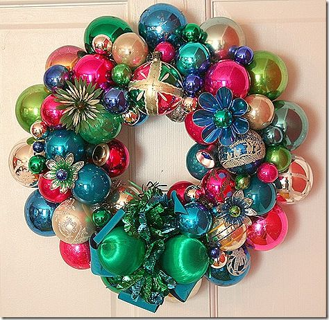 Christmas wreaths using vintage-y ornaments - really pretty!
