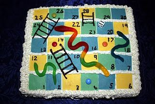 Simialr to what I have to make my soon to be 4yr old monster for his b-day next week! I'm cheating and using store purchased sponge cake then will decorate it with tina wafers to make the checks, bullets to make the ladders and ofcourse snakes for snakes :) Might jazz up the sides with some freckles