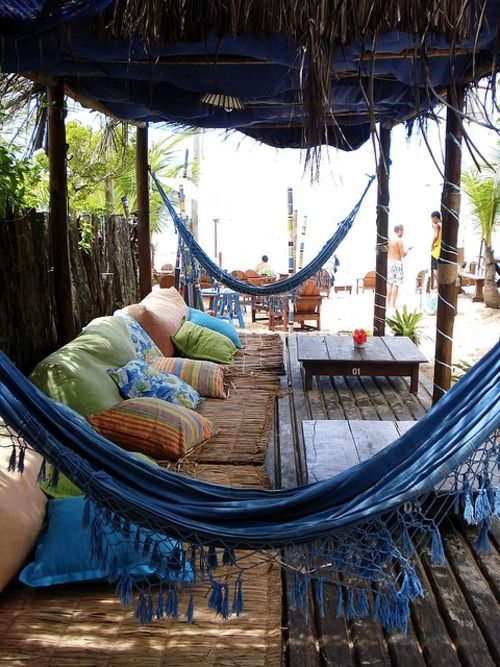 lots soooo relaxing: Idea, Blue Hammocks, Outdoor Living, Beach Houses, Patio, Outdoor Spaces, The Beach, Beachhouse