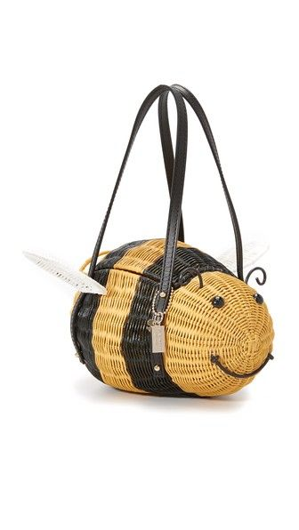 A playful Kate Spade New York clutch, shaped like a bee and rendered in glossy wicker.: