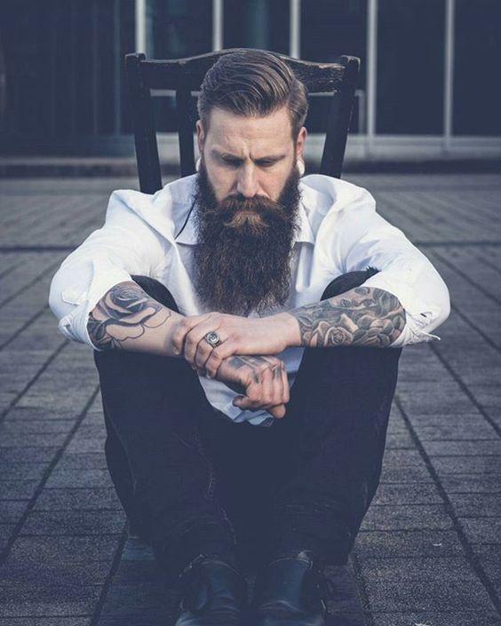 Bill Beardy - full thick long dark beard mustache beards bearded man men mens' style fashion bearding clothes tattoos tattooed handsome #beardsforever
