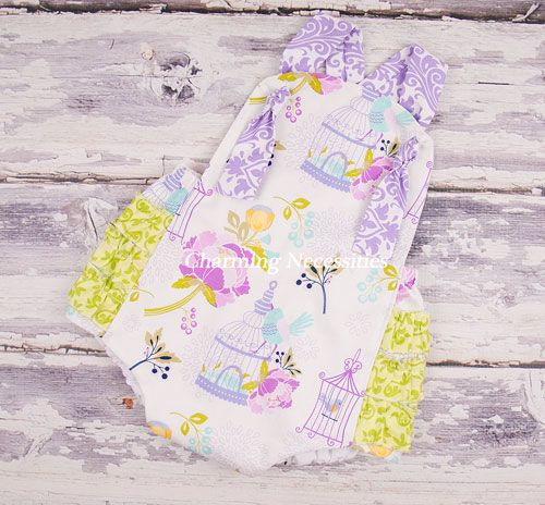 Vintage Beauty Sunsuit in Birds of a Feather by Charming Necessities Baby Girl Clothes, Baby Shower Gift, Baby Girl Summer Outfit