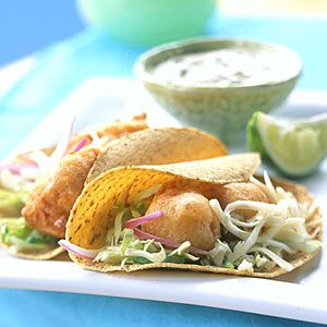 10 Festive Mexican Recipes | Beer-battered Fish Tacos with Baja Sauce | CoastalLiving.com