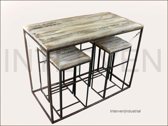 Mesa alta con taburetes interven industrial hierro - Mesa alta con taburetes ...