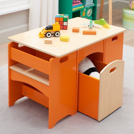 Senda Kids Wooden Storage Table And Bench Set 4 Piece Walmart