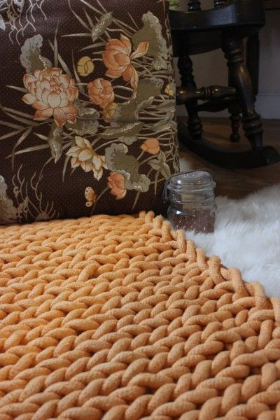 Knit floor mat from cotton cord knit pinterest for Floor knitting