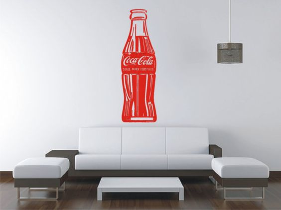 Large coca cola vinyl decal wall sticker wall tattoo by for Coca cola wall mural