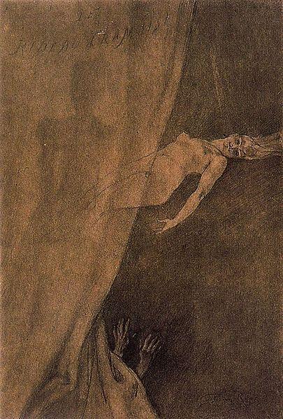 Felicien Rops ~Le Rideau Cramoisi, 1879.: