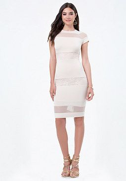 bebe Petite Lace Inset Dress #bebe #pinyourwishlist
