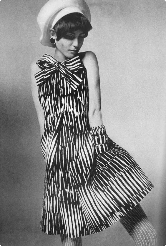 via Bess Georgette / Geoffrey Beene dress with ascot tie and pockets   US Vogue, 15 April 1967