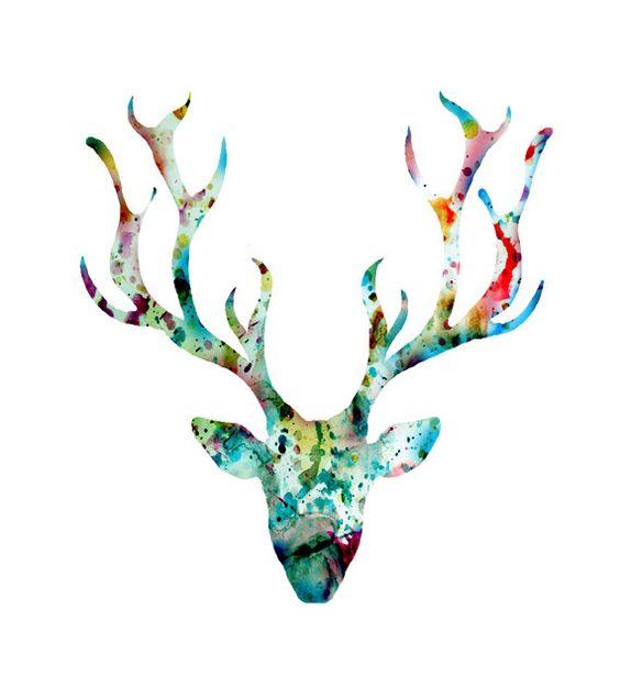 Hey, diesen tollen Etsy-Artikel fand ich bei http://www.etsy.com/de/listing/176715466/deer-art-print-watercolor-painting-blue