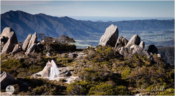 Bride and groom walking on Mt Olympus