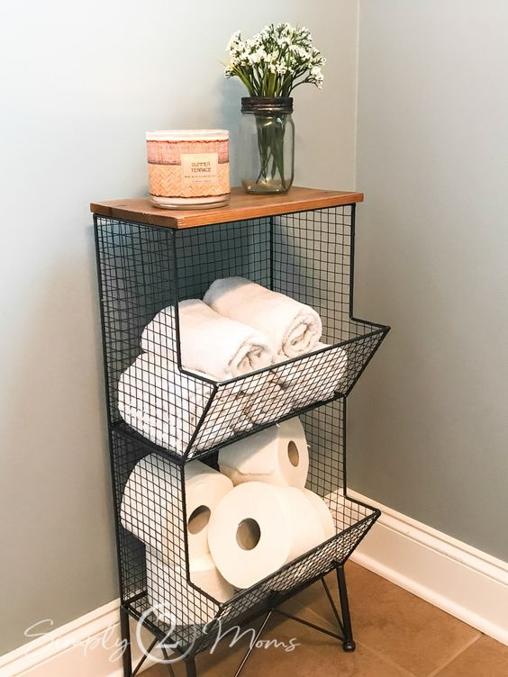 Storage ideas for small bathrooms and spaces. #powderroom #bathroomstorage #smallspaces #getorganized #bathroom