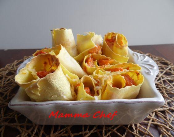 Rotolini di pasta con asiago e zucca