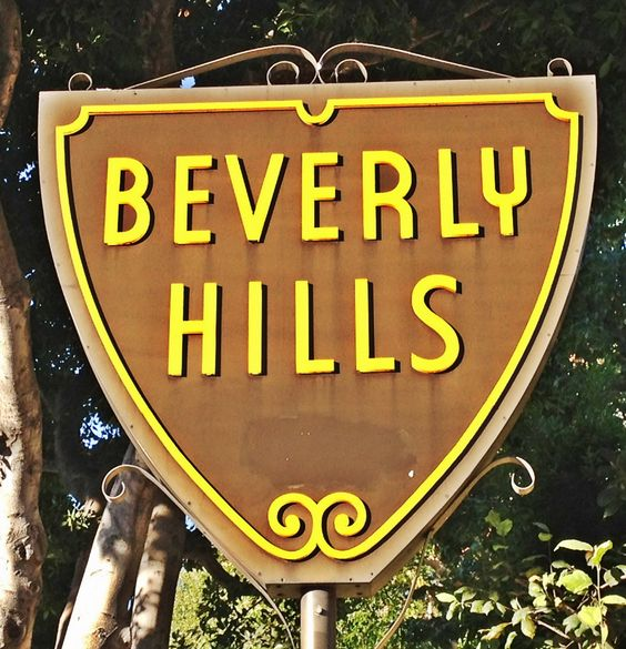 The Beverly Hills City sign on Sunset Boulevard at Sierra.