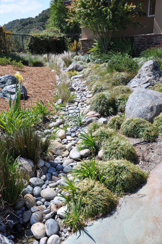 Dry creek bed dry creek and landscaping design on pinterest for Dry landscape design