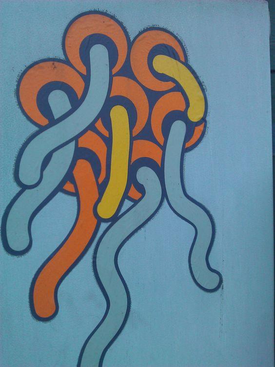 Street Art w KRK KResKi - Wyspa na przejściu dla pieszych (czy to Jote?) ...