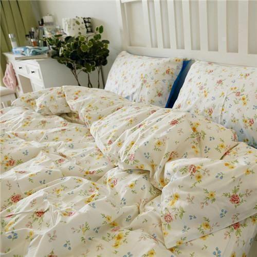 Nordic Floral Cotton Bedding Set 4pcs Duvet Cover Sets Soft Bed Flat Bed Sheet Set Pillowcase Bed Bedroomsets In 2020 Bed Sheet Sets Cotton Bedding Sets Bedding Sets