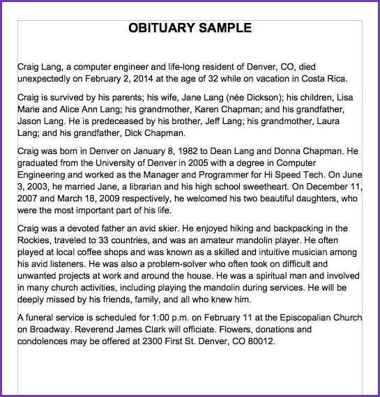 Sample Obituary For Mother Template from i.pinimg.com