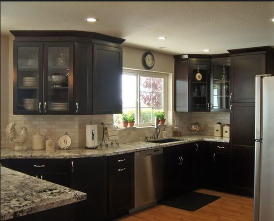 Tumbled Marble Subway Tile Backsplash Dark Cabinets Light Countertops Perfect Kitchen