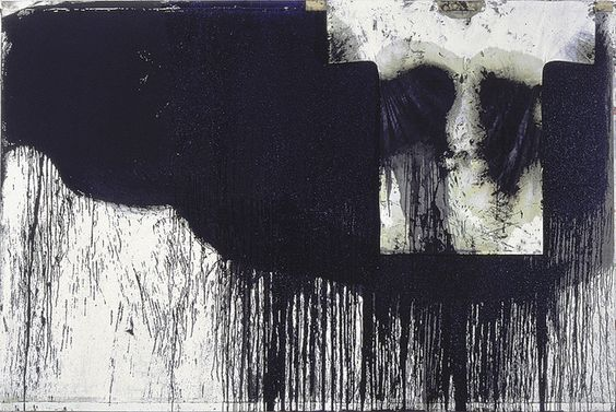 Hermann Nitsch - Schüttbild mit Hemd,1990 (Poured picture with white shirt - oil and acrylic on jute 200 x 300 cm)