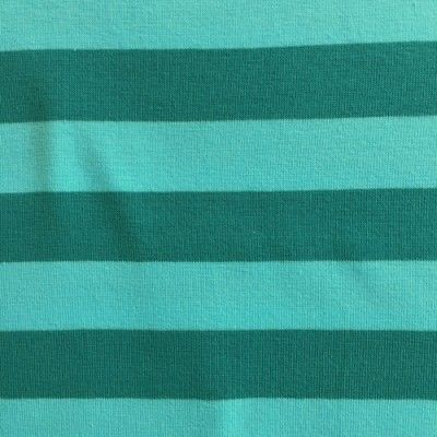 Aqua and Teal Turquoise 18mm broad horizontal stripe Cotton and Elastane Jersey, £11.50, w160