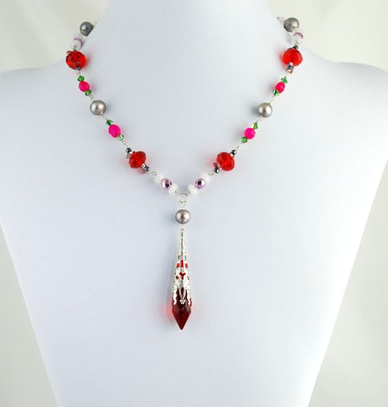 Flower Bouquet Necklace  Red Crystal Necklace by LuxVivensFashion, $125.00