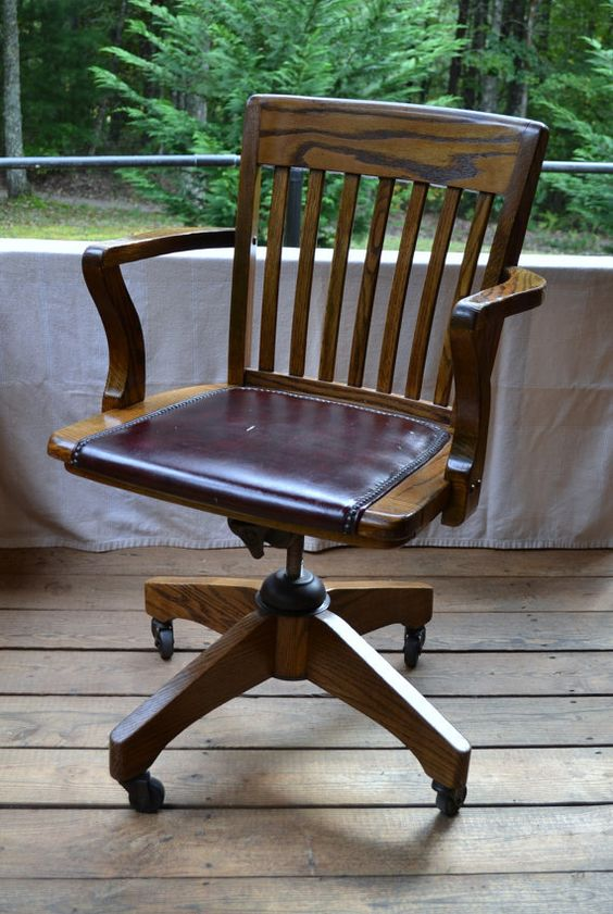 Vintage wood oak office chair swivel wheels vinyl seat for Home office chairs with wheels