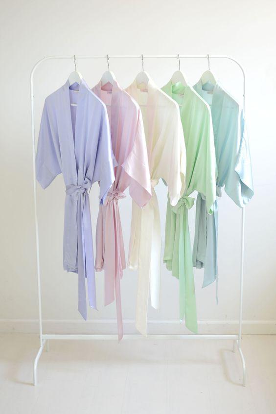 Image of Samantha bridal silk kimono robe bridesmaids robes in Spring pastel colors