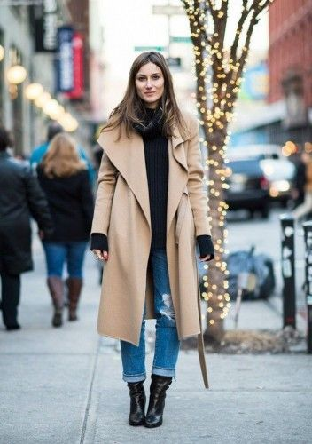 holiday outfit with camel coat