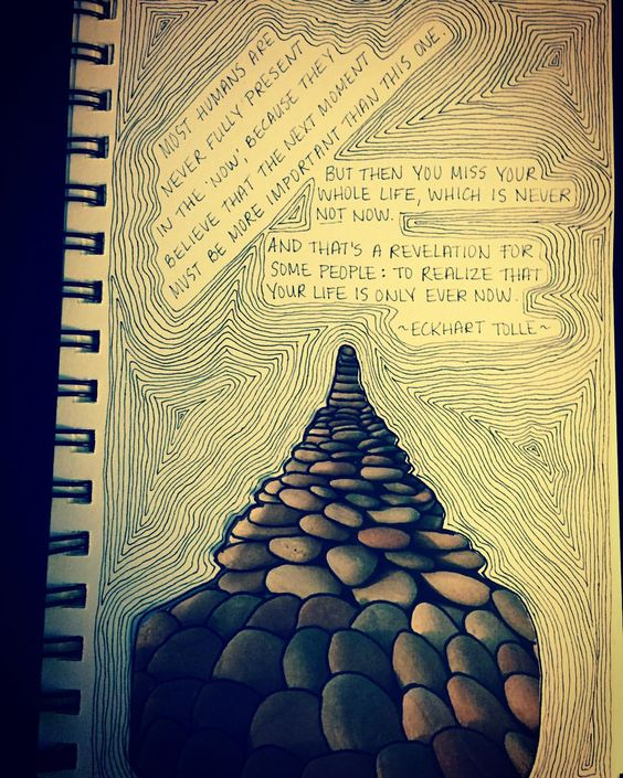 #sketchbookquotes #artjournal #deepthoughts #eckharttolle #liveinthemoment
