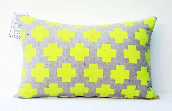 Me Plus You - neon yellow pillow