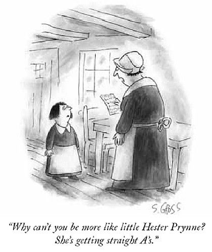 The Scarlet Letter / Nathaniel Hawthorne - Cartoon from The New Yorker - Sam Gross: