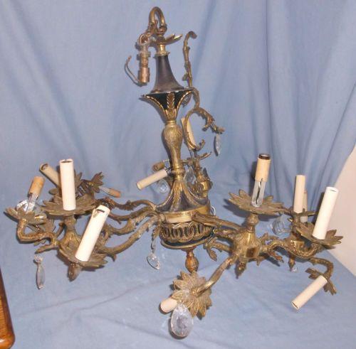 Old Ceiling Light Fixture Parts: Vintage-Big-Brass-Electric-Chandelier-Lamp-Ceiling-Fixture