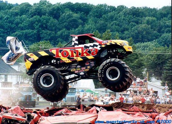 Bigfoot Monster Truck Smashing Cars Monster Trucks Pinterest