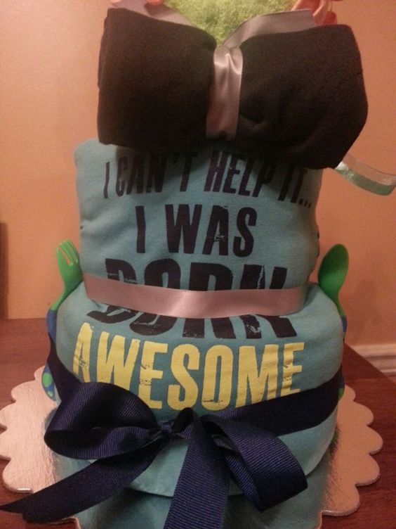 Back of Dr. Love Diaper Cake