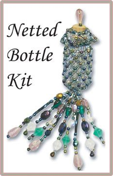 Netted Bottle Kit (Blue Iris)  at Sova-Enterprises.com This is the PDF version of my Bead Knitted Bags Vol II. You can print each pattern as you need it. The cover is also included. Very user friendly.