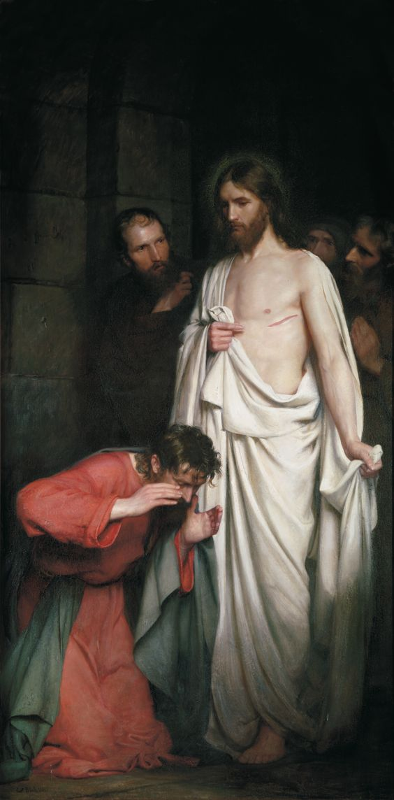 Majestic painting of resurrected Jesus appearing before Thomas. Deep shadows. Perfect form. / Carl Bloch, The Doubting Thomas, 1881, Oil on canvas.