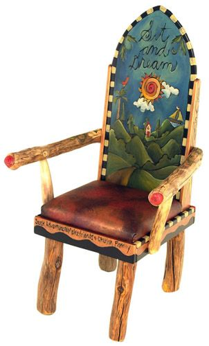 scenery and quote on back of a Princess Chair